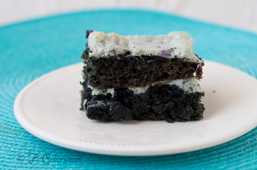 Fabulous r  ed wine and blueberry cake with blueberry meringue recipe | FitCakery.com