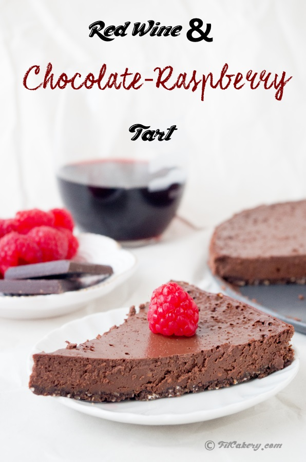 Best dessert ever.  Red wine & chocolate raspberry tart (gluten-free) | FitCakery.com
