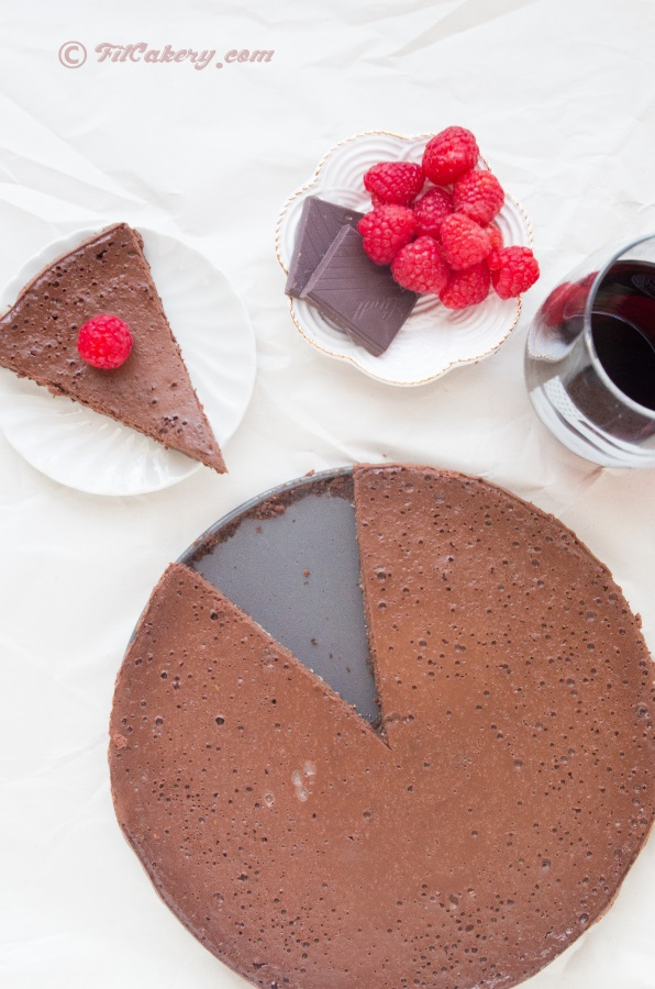 Best dessert ever.  R  ed wine & chocolate raspberry tart (gluten-free)   | FitCakery.com