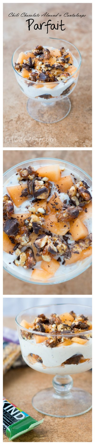 Chili Chocolate Almond & Cantaloupe Parfait {plus a sweet giveaway!} | FitCakery.com