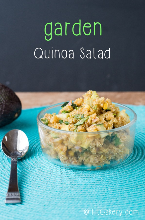 This garden quinoa salad is a delicious + healthy side for summer! | FitCakery.com