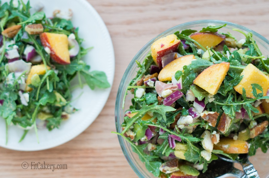 Peach & Prosciutto Salad - low-carb, gluten-free, perfect for summer! | FitCakery.com