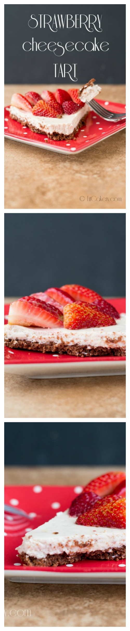 Strawberry Cheesecake Tart with Chocolate Crust recipe - gluten-free and vegan-friendly | FitCakery.com
