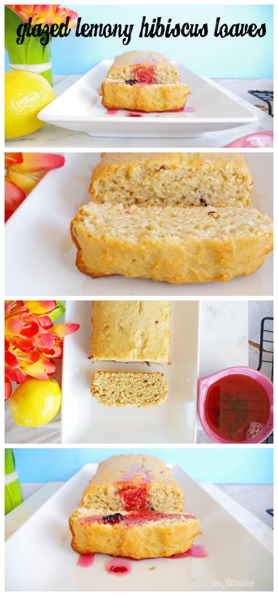 Glazed Lemony Hibiscus Yogurt Loaves | FitCakery.com
