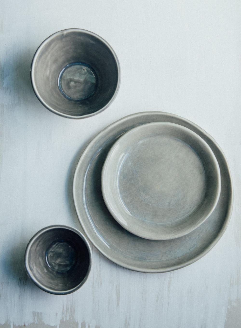 Hand thrown dinnerware set.