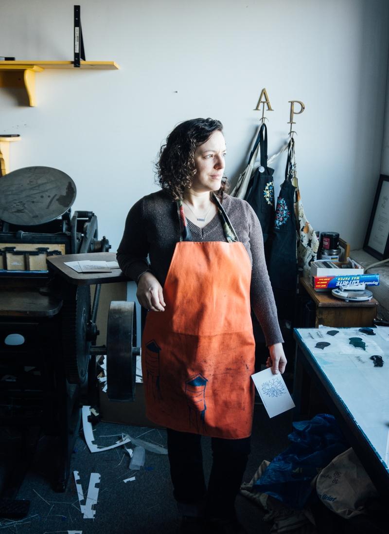 Shelley Barandes in her print studio Albertine Press.