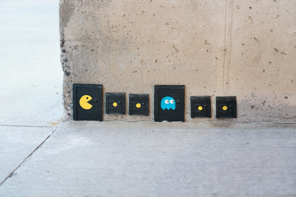 Tiny & Mini Pac-Man Doors by Mows photography by Austin Smith