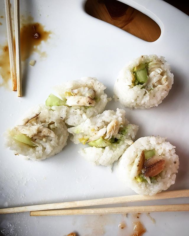 I have to use all the leftover crab meat so what's better than home made California Rolls with Maryland Blue Crab. I need to refine my rolling skills but still tasted great! #marylandbluecrabs #marylandbluecrabexpress #crabs #bluecrabs #dinner #californiaroll #sushi #homemade #sushirice #avacado #cucumber #crabmeat #realcrabmeat