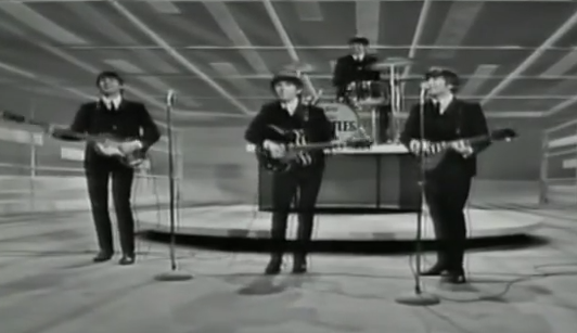 Screengrab from Beatles on Ed Sullivan