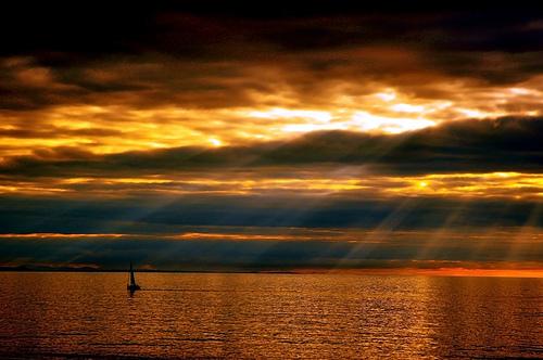 boat sunset byMeyrick Ames