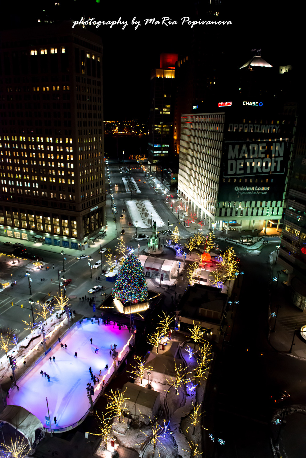 another view at Detroit Christmas Tree and Campus Martius