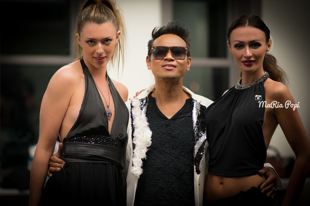 Designer Khon with Models: Mimi and Alexis