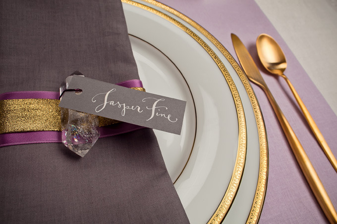 Kathryn Murray Calligraphy Place Card with Crystal