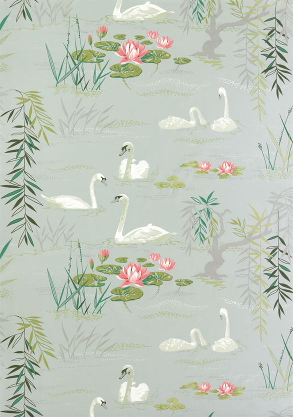 "Nina Campbell fabric and wallpaper, ""Swan Lake"""
