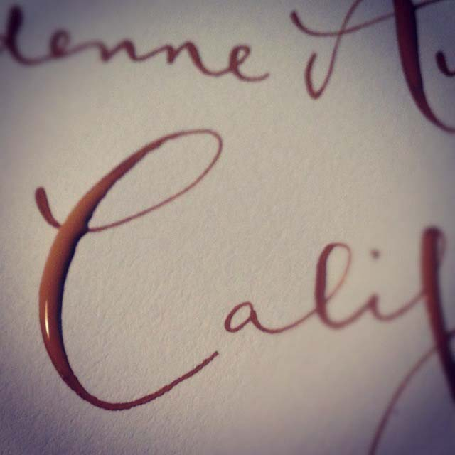 Close-up of a letter C. I thought it looked like chocolate.