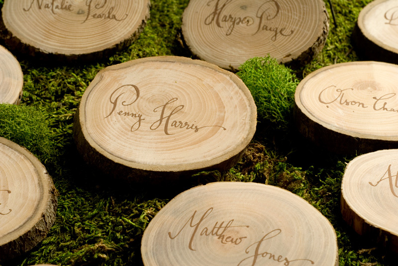 Kathryn Murray Calligraphy- Wood Slices as place cards