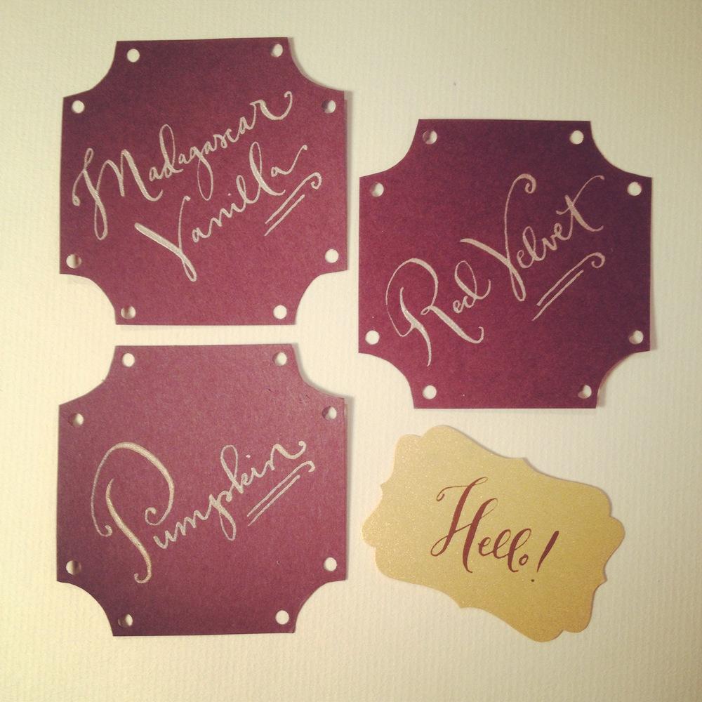 """Dessert Signs for an """"Industrial wedding"""" shoot."""