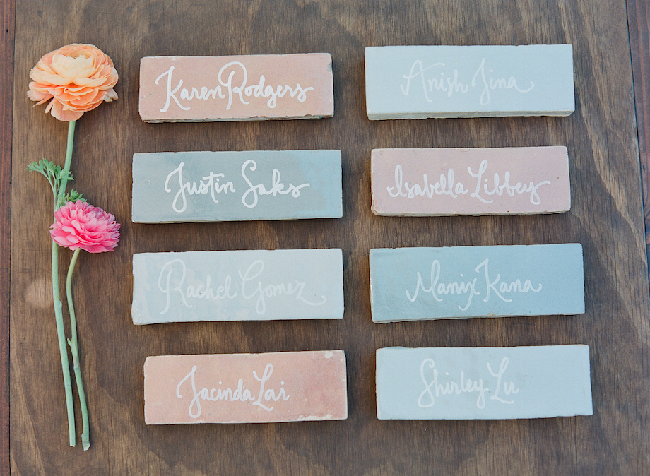 Kathryn Murray Calligraphy on Moroccan Tile Place cards