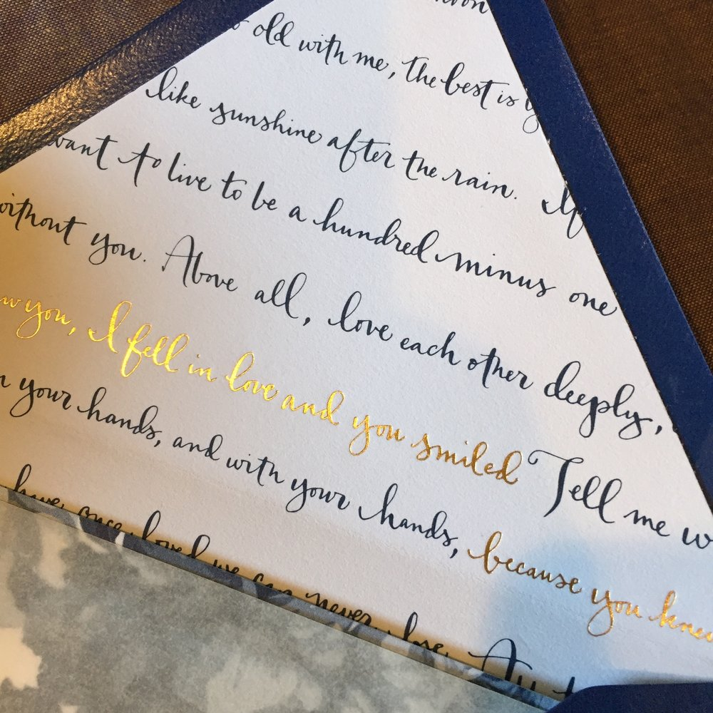 Custom Calligraphy envelope liners with foil stamping
