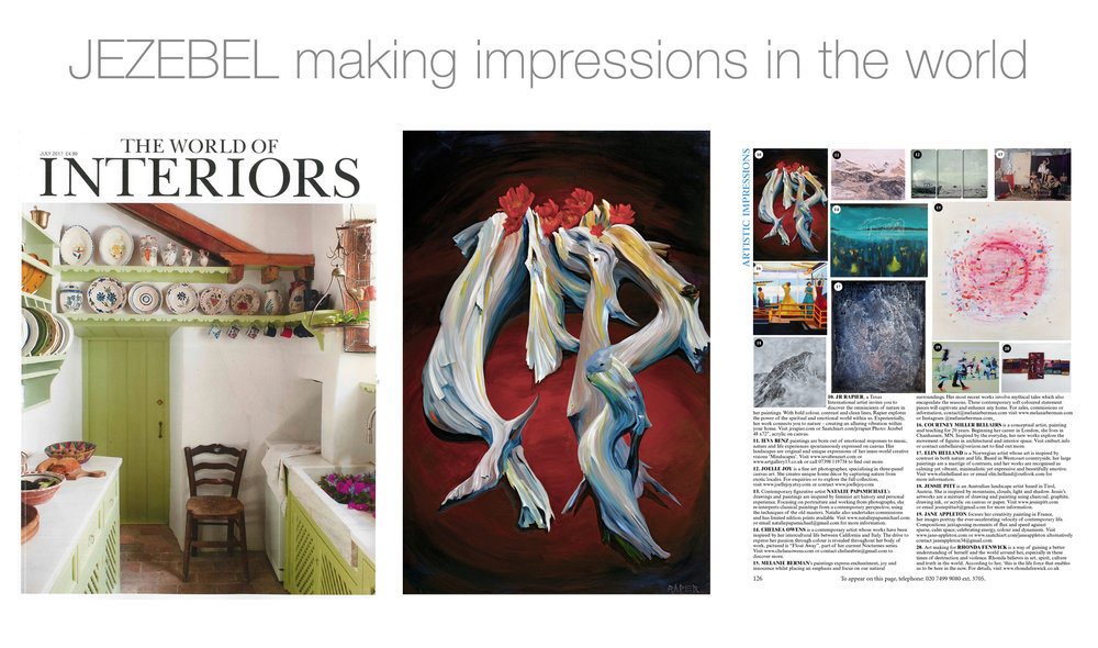 I am pleased to see my work yet again for the third month in a row in The World of Interiors July 2017 issue. Thank you WOI for reaching out and including me and my work to publish along side so many great artists from around our world.