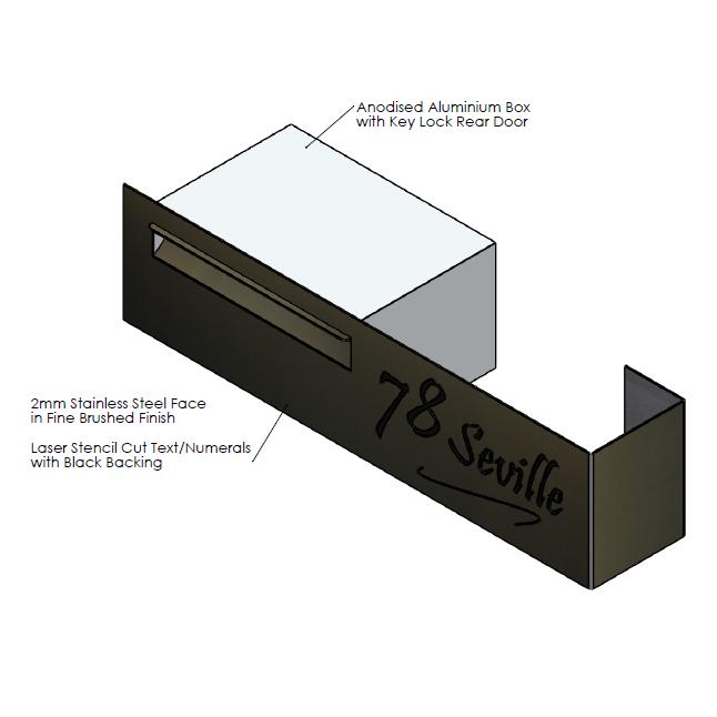 F  aceplate - 800mm (w) x 200mm (h) x 2mm (d)   Internal Box - 350mm (w) x 185mm (h) x 240mm (d)