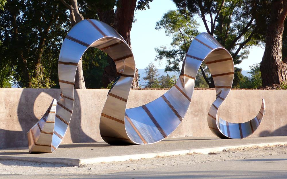 Arch Cradle , Stainless Steel &Bronze, 20' x 8' x 7', 2008,  Mitchell Park, Palo Alto, CA