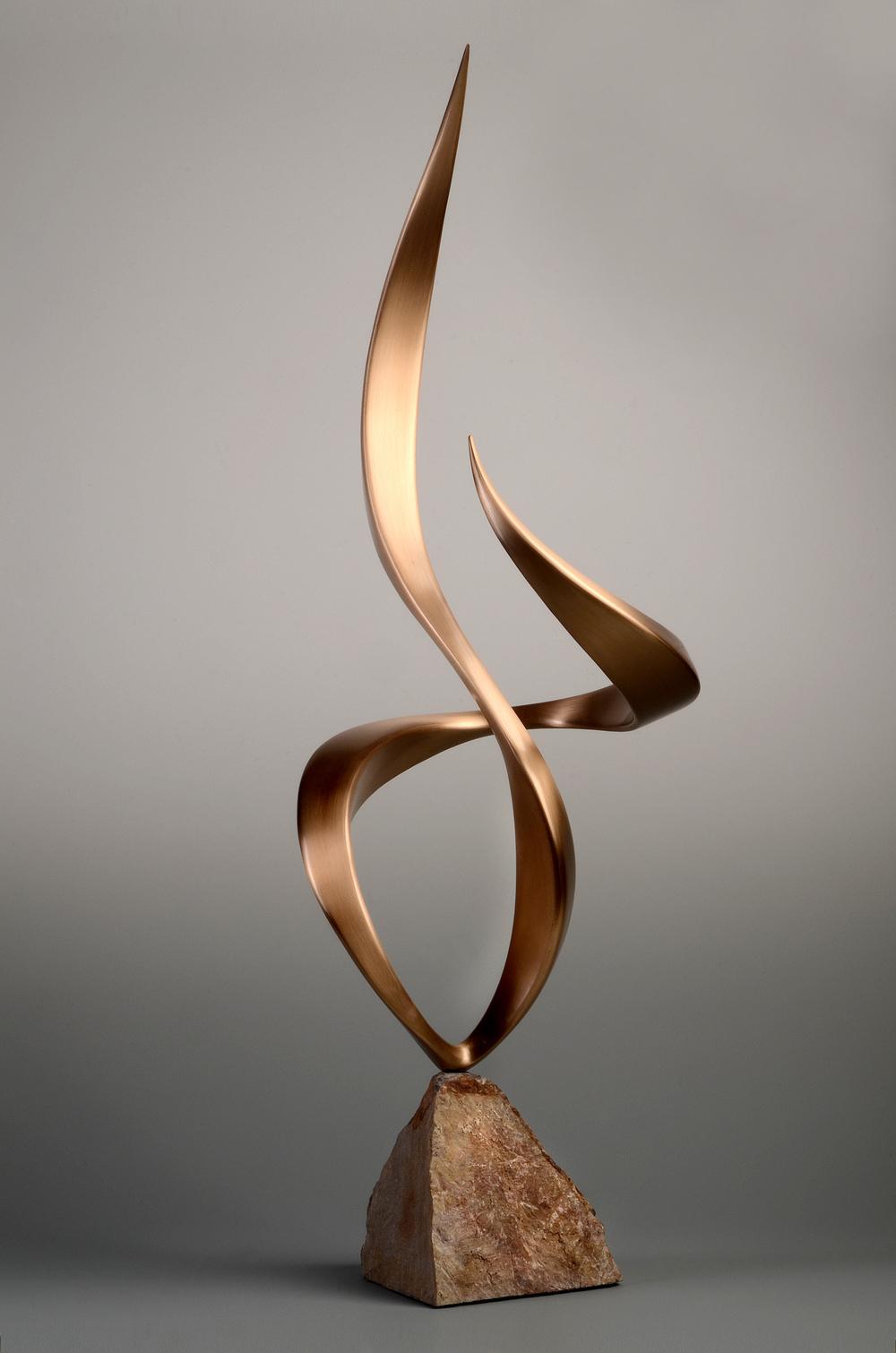 "Alight , Bronze & Stone, 36"" x 14"" x 12"", 2014"