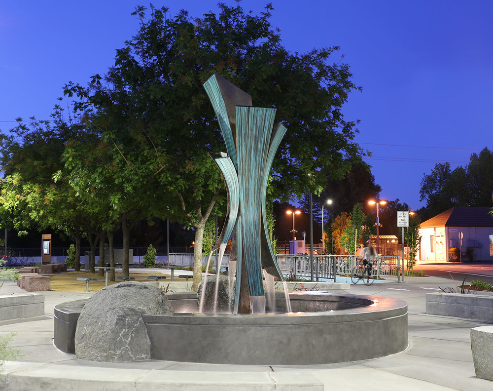 We invite you to celebrate the completion of Confluence on the evening of Tuesday July 14th. Please join us and the Palo Alto Public Art Program from 5:30pm-7:30pm at the Caltrain Station Plaza in Palo Alto, CA.  There will be a small dedication ceremony, light refreshments, and live music from John Henry's Farm.  We hope to see you there!