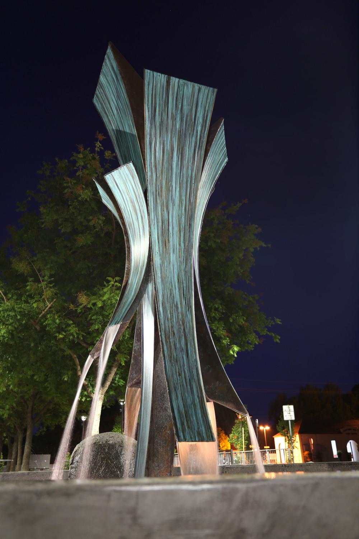 Confluence , Bronze & Water, 14' x 4' x 4', 2015, California Ave. Caltrain Station, Palo Alto, CA