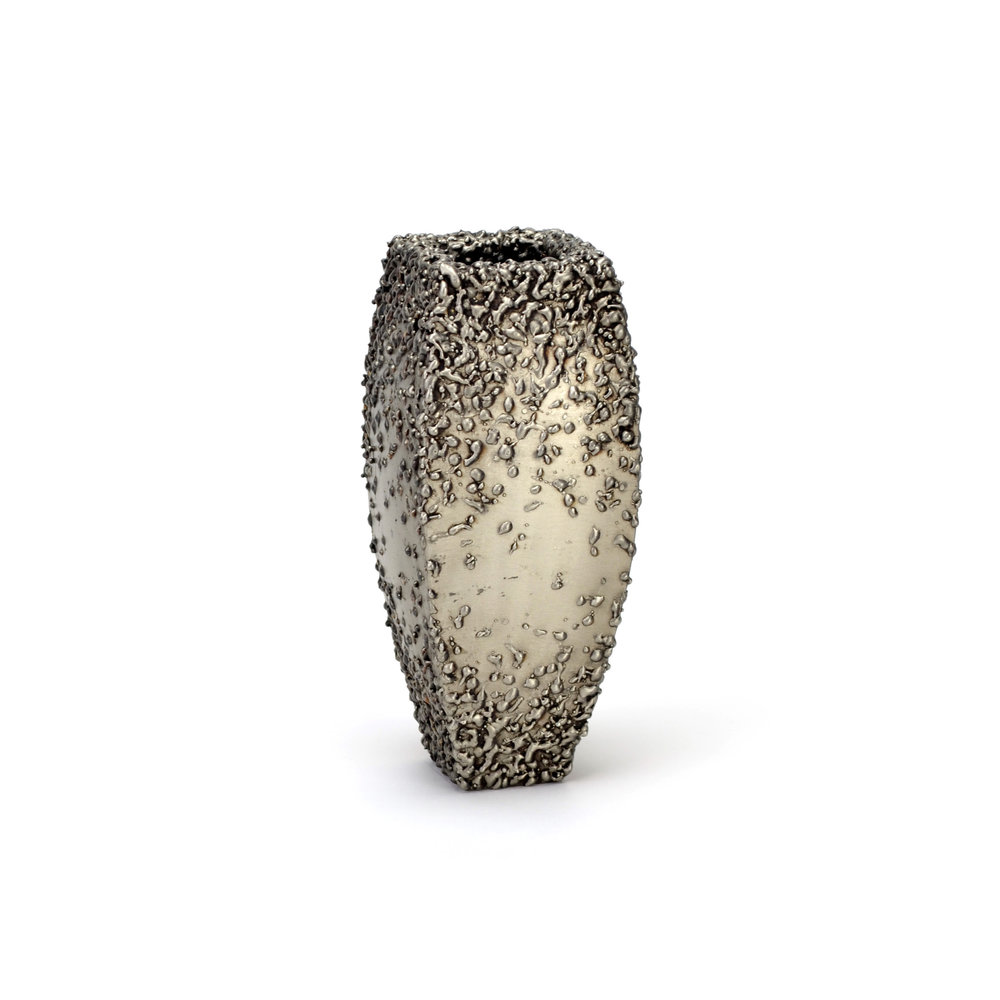 """Table - end texture , 9"""" x 4"""" x 4"""", Stainless Steel"""
