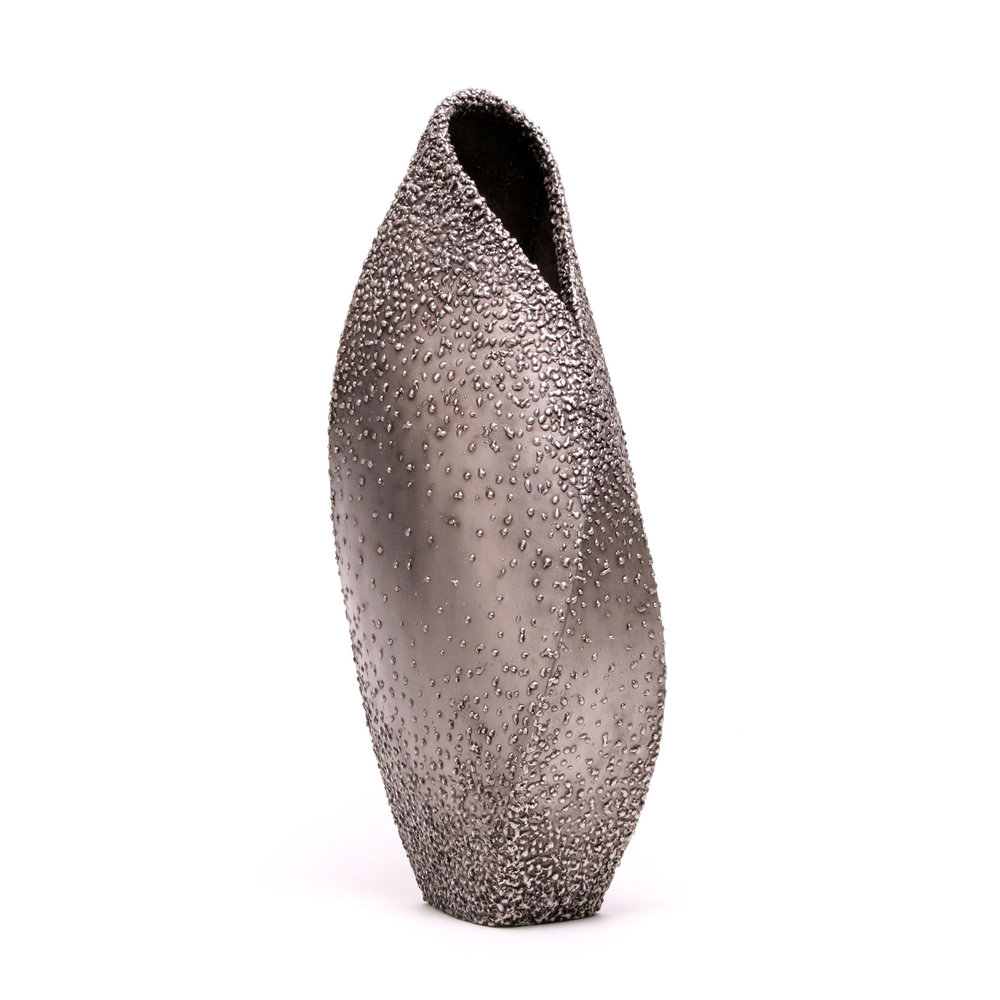 "Cocoon - end texture ,   25"" x 12"" x 7"",   Stainless Steel"