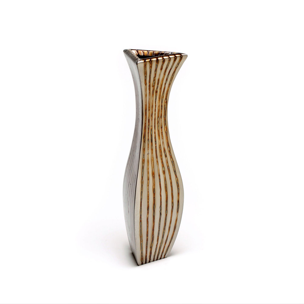 """Tr- Classic - vertical stripe , 14"""" x 4"""" x 3.5"""", Stainless Steel"""