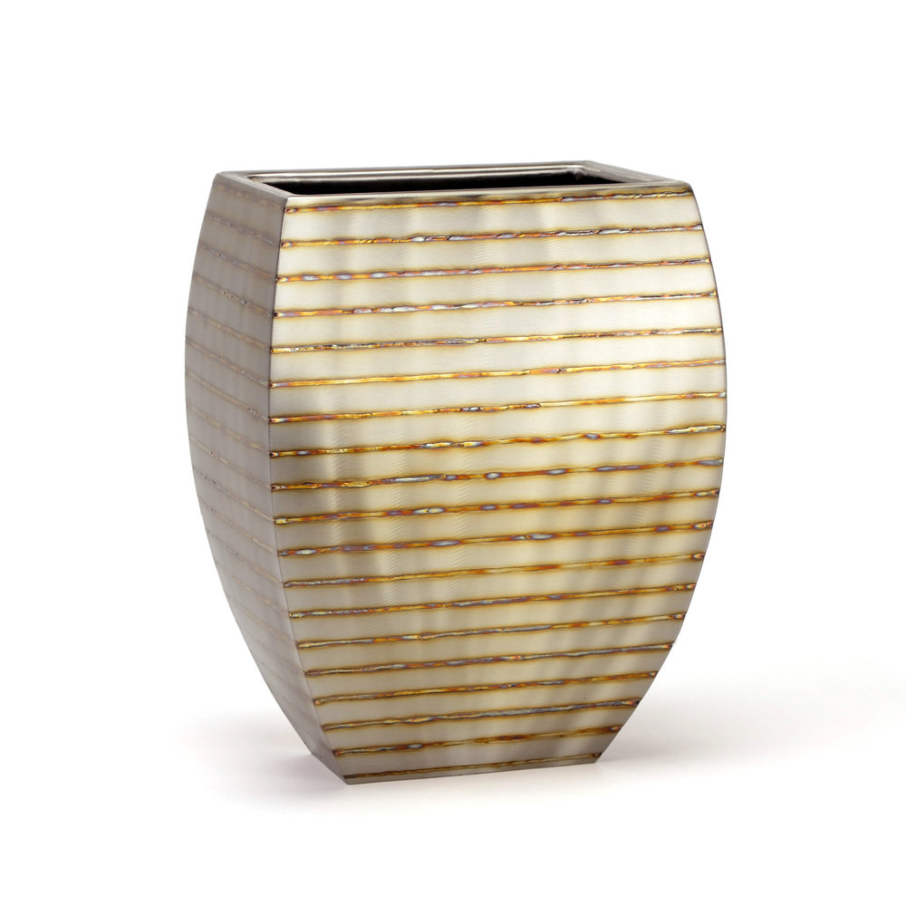"Wide Mantle - horizontal stripe , 14"" x 8"" x 11"", Stainless Steel"