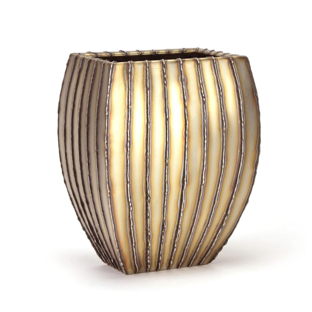 "Wide Mantle - vertical bead stripe , 14"" x 8"" x 11"", Stainless Steel"