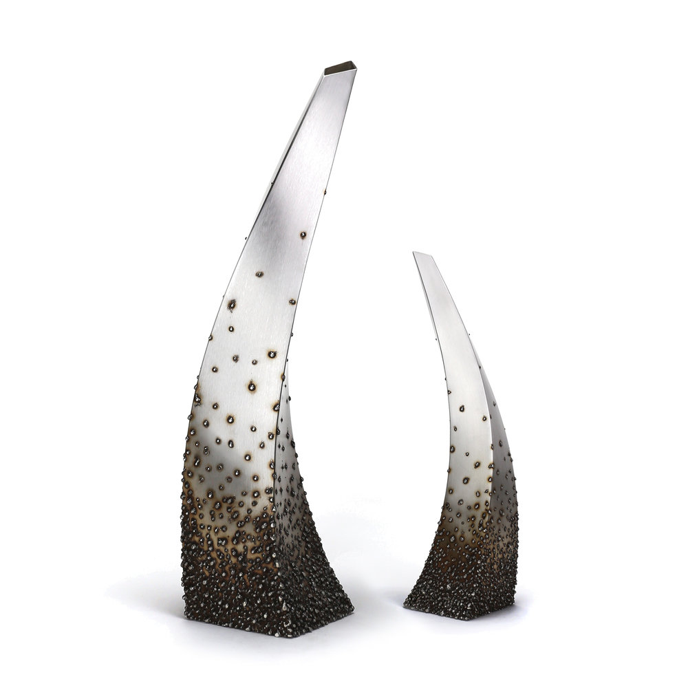 "Twist - graduated texture ,   Small: 18"" x 6"" x 5.5"",   Large: 30"" x 10"" x 9"",   Stainless Steel"