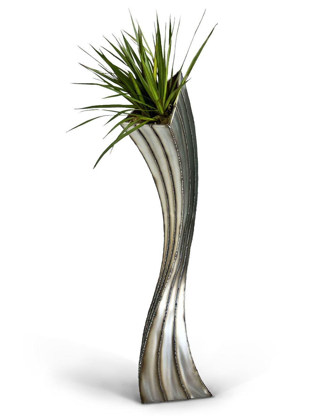"Floor Planter - vertical bead stripe ,   48"" x 12"" x 10.5"",   Stainless Steel"