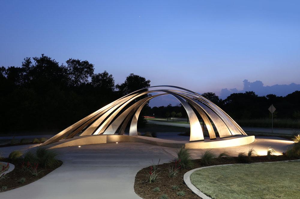 Prairie Crossing , Stainless Steel, Bronze, Concrete, 50' x 16' x 11', 2018, City of Wylie Municipal Complex, Wylie, TX