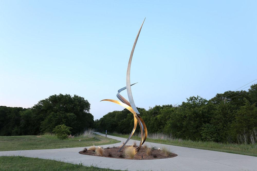 Entwine , Stainless Steel, Bronze, 33' x 16' x 12', 2018, City of Wylie Municipal Complex, Wylie, TX