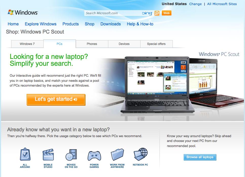 Microsoft Windows Landing Page