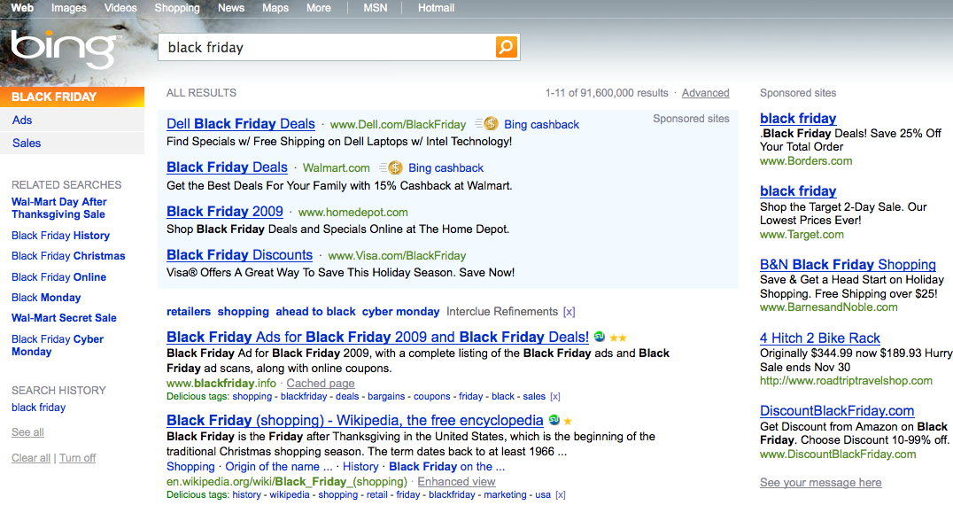 Black Friday Bing SERP
