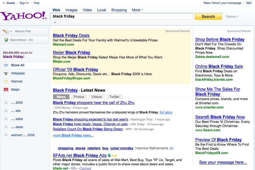 Black Friday SERP Yahoo