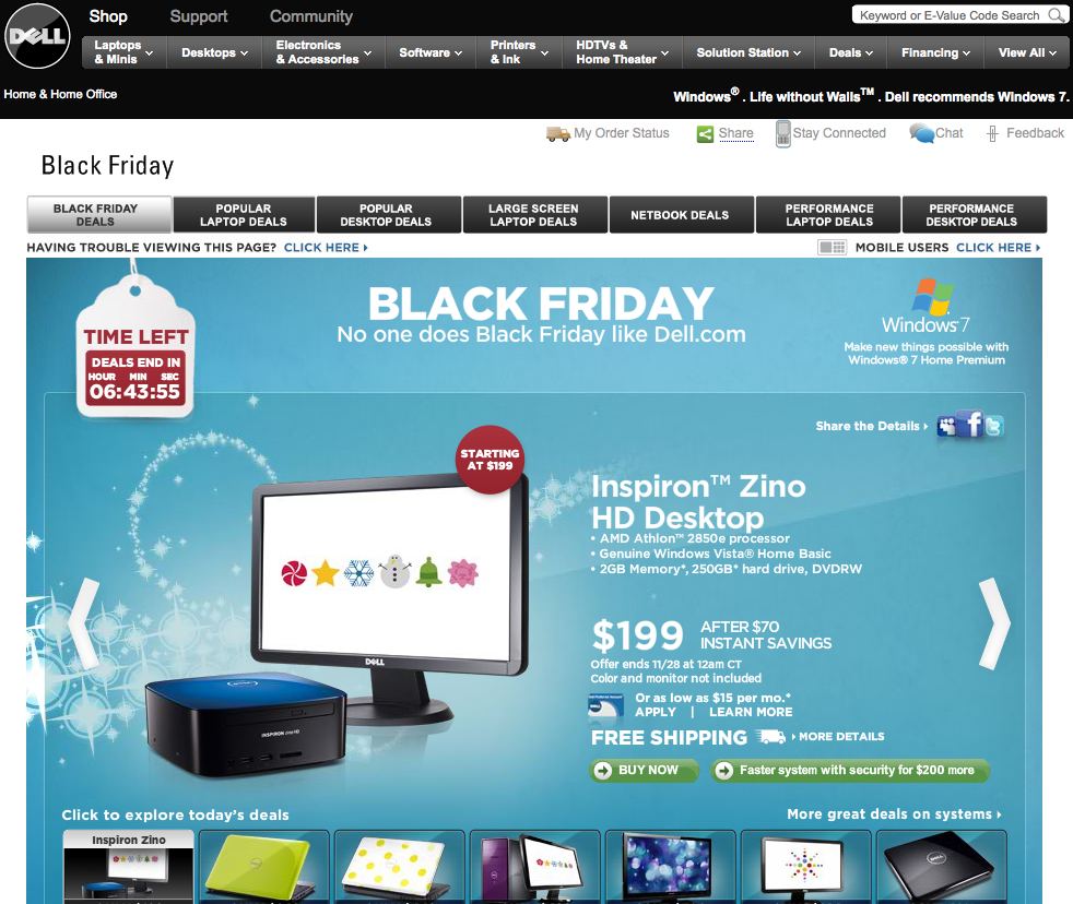 Dell Black Friday 2009 Landing Page