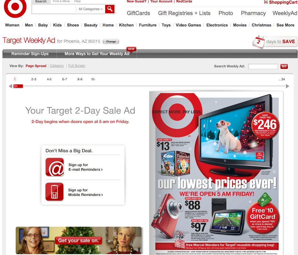Target Black Friday 2009 Landing Page