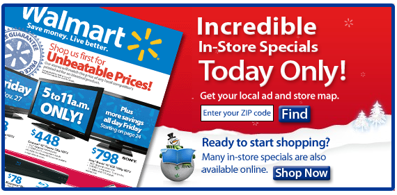 Walmart Black Friday Landing Page 2009