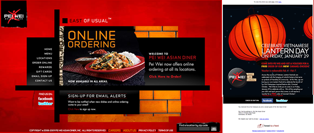 Pei Wei Website and Email