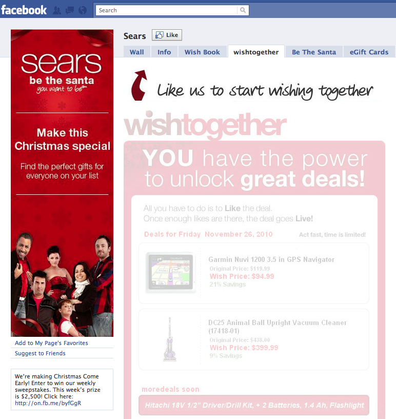 Sears Facebook Wishtogether - Before Fanning