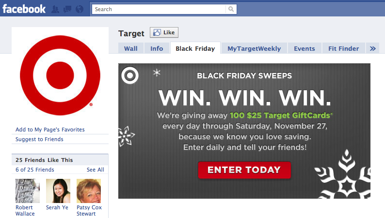 Target Facebook Entry Page - Black Friday