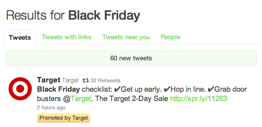 target black friday twitter sponsored ad