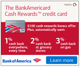"""Bank of America digital display ad. 1 - 2 - 3 is a nice touch, but there is a lot to get across on this message that would require the viewer to invest """"effort & time"""" to read. Cash back, rewards, bonus, etc"""