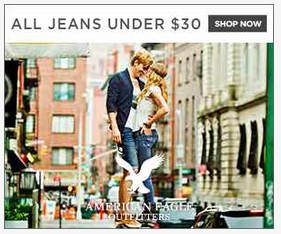 American Eagle display ad. Did you spot the brand logo? Probably not at first glance.